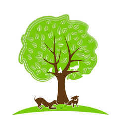 Tree abstract green people growth concept vector