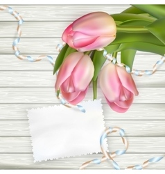 Tulip flowers on wood background EPS 10 vector