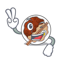 Two finger jajangmyeon in a cartoon shape vector