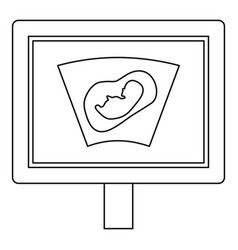 ultrasound fetus icon outline style vector image