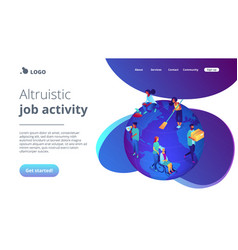 Volunteering isometric 3d landing page vector