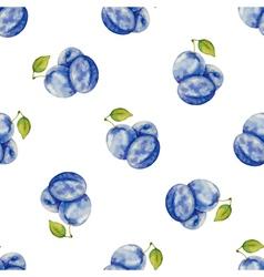 Watercolor pattern fruit plum vector