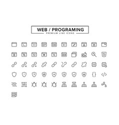 web programing line icon set vector image