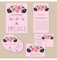 wedding invitation set with ribbon vector image