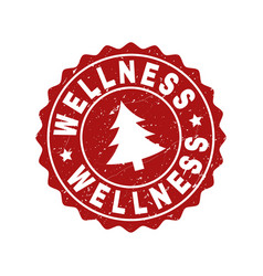 Wellness scratched stamp seal with fir-tree vector