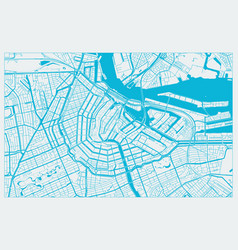 White and blue city map amsterdam vector