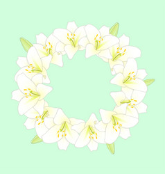 White lily flower wreath on green mint background vector