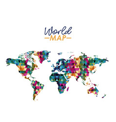 world map in geometrical colorful shape silhouette vector image