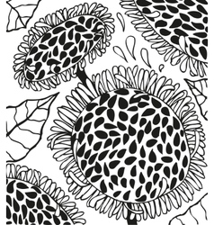 Background with doodling hand drawn sunflowers vector image