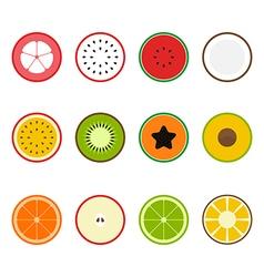 Fruit icon set flat design slice half vector image vector image