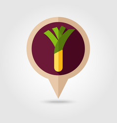 leek flat pin map icon vegetable vector image