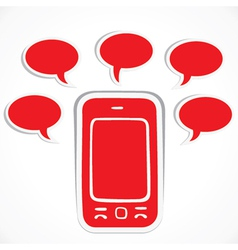 red mobile with message bubble vector image