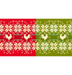 Rooster winter seamless pattern vector