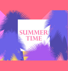 Summer time background with palm trees vector
