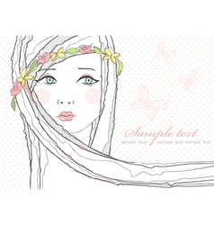 background with girl flowers and butterfly vector image