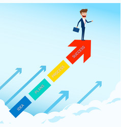 businessman stand on arrow growth graph vector image vector image