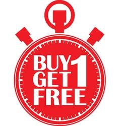 Buy 1 get 1 free red stopwatch vector