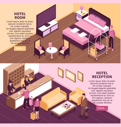 colored isometric hotel banner set vector image vector image