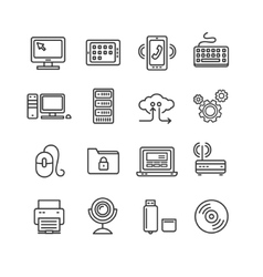 Computer Technology Outline Icon Set vector image vector image