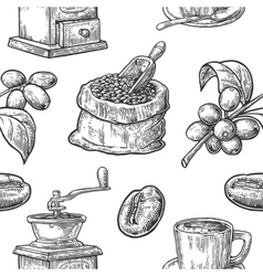 Seamless pattern with coffee bean and branch vector image vector image