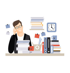 young tired businessman character sitting at the vector image
