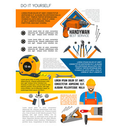 handyman service poster of man with work tool vector image