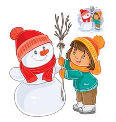 small girl mold snowman vector image vector image