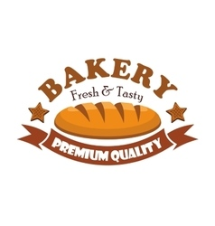Fresh and tasty bread bagel Bakery emblem vector image