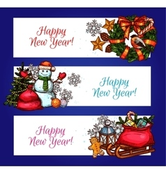 New year banners with pine tree gift and snowman vector