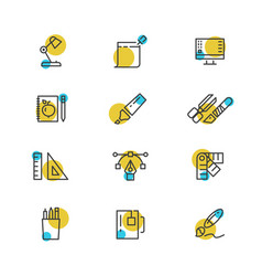 office stationery thin line icons collection vector image