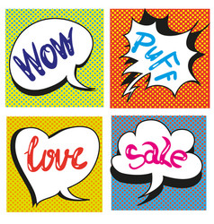 set of comic text pop art style vector image