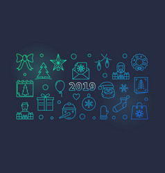 2019 colored banner new year concept vector image