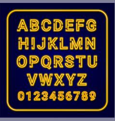 alphabet yellow neon lamp vector image