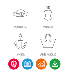 Anchor ladies handbag and swimsuit icons vector