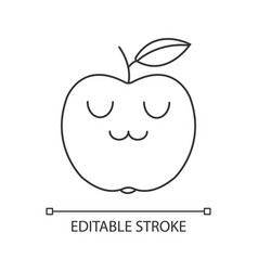 Apple cute kawaii linear character vector