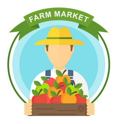 apple picking logo man with apple farmers vector image