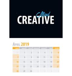 April calendar planner 2019 with motivational vector
