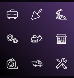 architecture icons line style set with equipment vector image