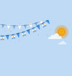 Argentina flags bunting waving on blue sky vector