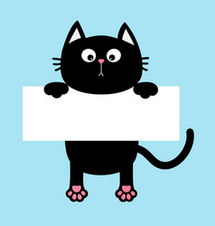 Black funny cat hanging on paper board template vector