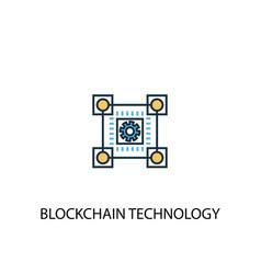 blockchain technology concept 2 colored line icon vector image
