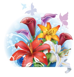 Bouquet of color Lilies and Calla vector