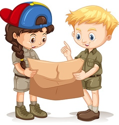 Boy and girl reading map vector
