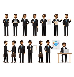Businessman characters in action vector image