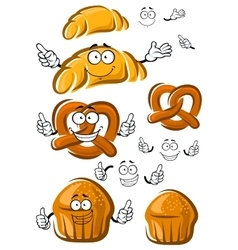 Cake croissant and pretzel characters vector image