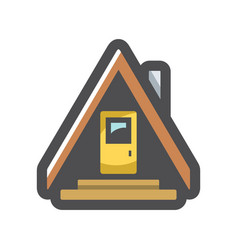 camping house in forest icon cartoon vector image