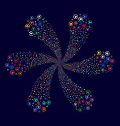Cannabis spiral flower shape vector