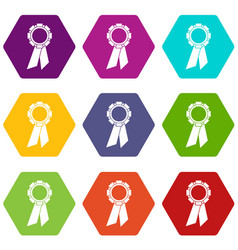 champion medal icon set color hexahedron vector image