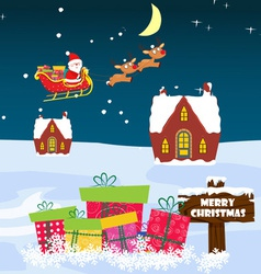 Christmas Card with Santa Claus snowman and vector image vector image