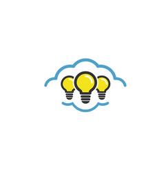 cloud lamp idea logo vector image